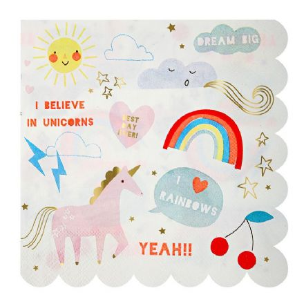 Rainbows and Unicorns Paper Party Napkins